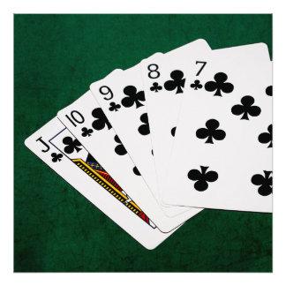 Manos de póker - rubor recto - juego de los clubs fotografías