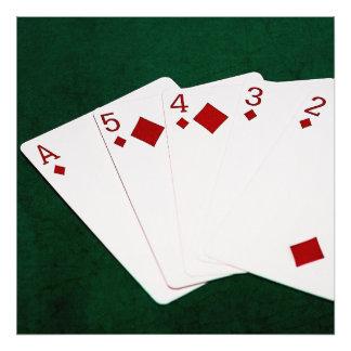 Manos de póker - rubor recto - juego de los cojinete