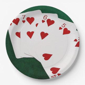 Manos de póker - rubor recto - juego de los platos de papel