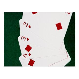 Manos de póker - rubor recto - juego de los postal