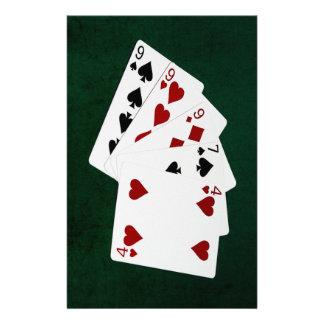 Manos de póker - tres de una clase - nueve flyer personalizado