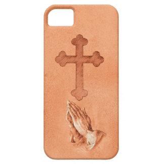 Manos de rogación con la cruz iPhone 5 carcasa