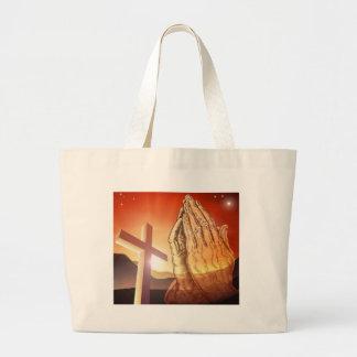 Manos de rogación cruzadas cristianas bolsa tela grande