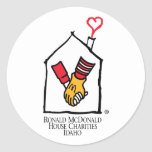 Manos de Ronald McDonald Etiqueta Redonda