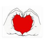 Manos del corazón tarjeta postal