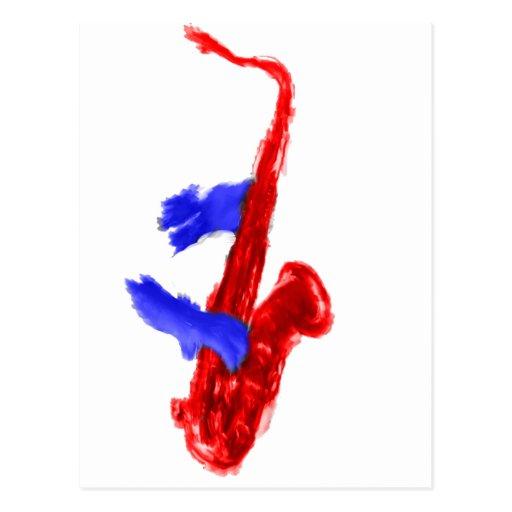 Manos del diseño dos del saxofón rojas y versión tarjeta postal