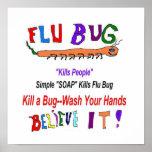 Manos del lavado del insecto de la gripe posters
