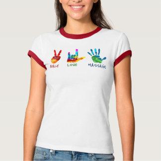 Manos del masaje del amor de la paz - teñido playera