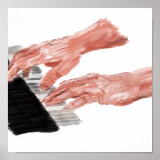 Manos del teclado de piano que juegan diseño de la posters