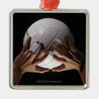 Manos del voleibol adorno cuadrado plateado