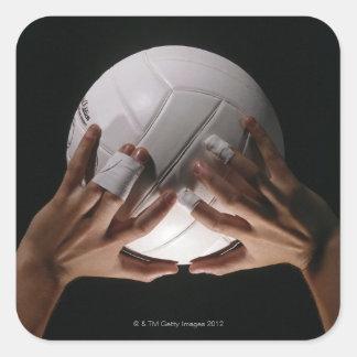 Manos del voleibol pegatina cuadrada