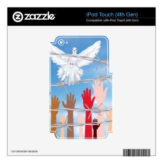 Manos detrás de un alambre de púas 3 skins para iPod touch 4G