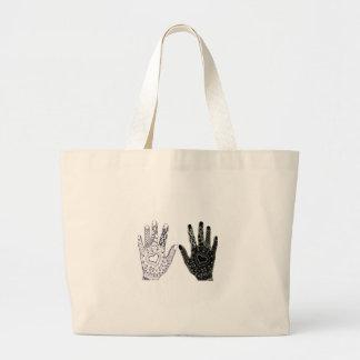 Manos dibujadas mano del corazón bolsa tela grande