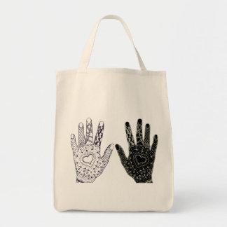 Manos dibujadas mano del corazón bolsa tela para la compra