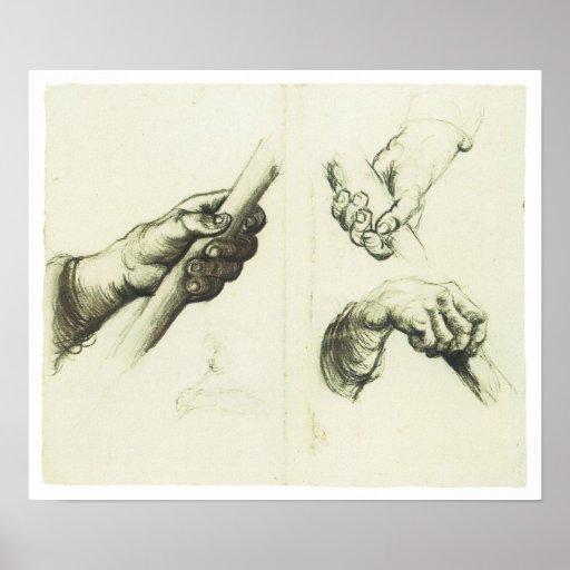 Manos, dibujando por Vincent van Gogh Póster