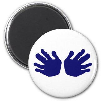 Manos DK azul los regalos de Zazzle del MUSEO Imán Para Frigorifico