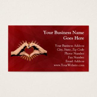 Manos en la forma de un corazón, diseño del amor tarjetas de visita