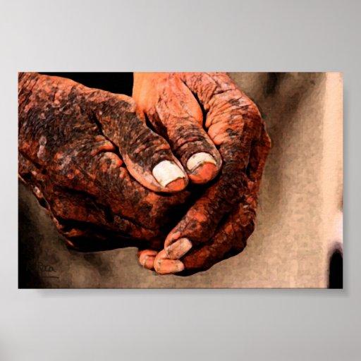 Manos envejecidas Original Indian Ink Atwork  Impr Póster