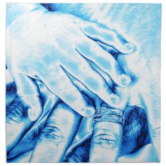 manos, familia servilleta imprimida