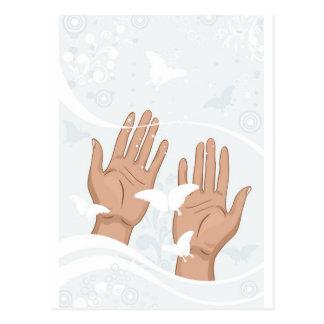 manos femeninas tarjetas postales