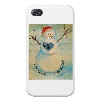 Manos frías, corazón caliente, muñeco de nieve iPhone 4 coberturas