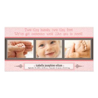 Manos minúsculas, pies minúsculos de invitación de tarjeta fotografica