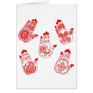 Manos negras del tatuaje de la alheña tarjetas