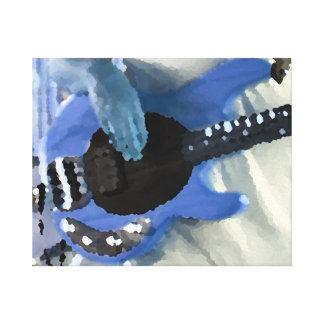 manos painterly del bajo de secuencia del azul cua impresión de lienzo