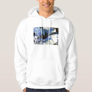 manos painterly del bajo de secuencia del azul suéter con capucha