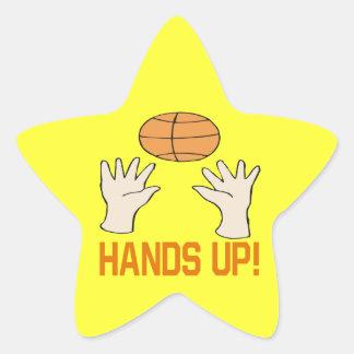 Manos para arriba pegatina en forma de estrella