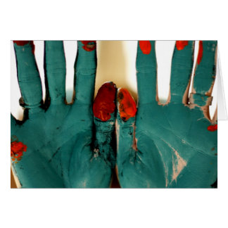 Manos pintadas (espacio en blanco dentro) tarjeta de felicitación