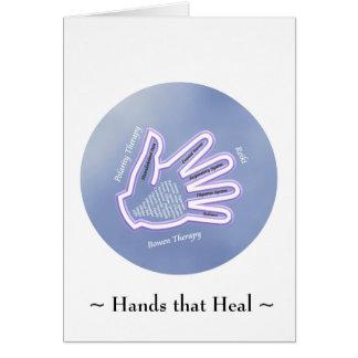 Manos que curan - tarjeta de felicitación