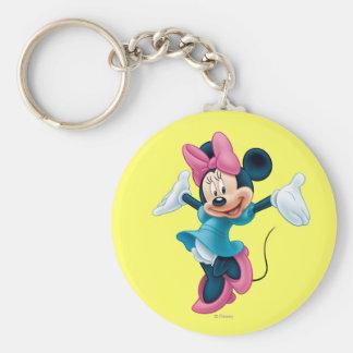 Manos que dan la bienvenida azules de Minnie el | Llavero Redondo Tipo Pin