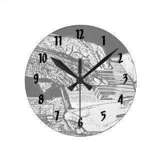 Manos que juegan diseño de la música del bosquejo  reloj redondo mediano