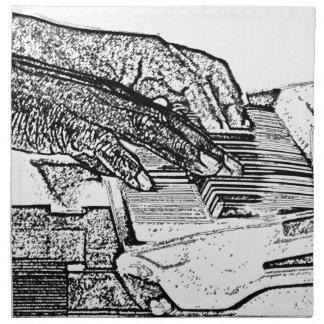 Manos que juegan diseño de la música del bosquejo  servilleta