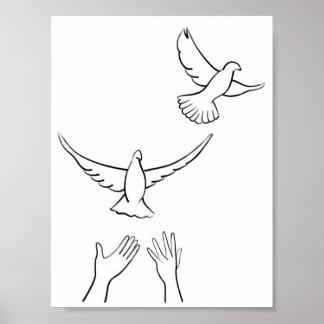 Manos que lanzan palomas póster