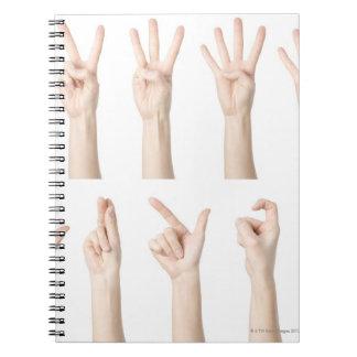 Manos que muestran la manera china de cuenta notebook
