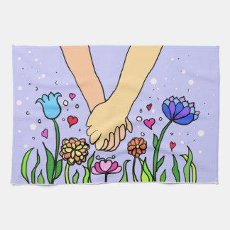 Manos que se sostienen románticas - datación/regal toallas de mano