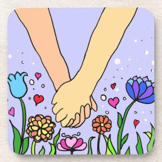 Manos que se sostienen románticas - datación/regal posavasos