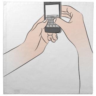 Manos usando Smartphone Servilleta De Papel