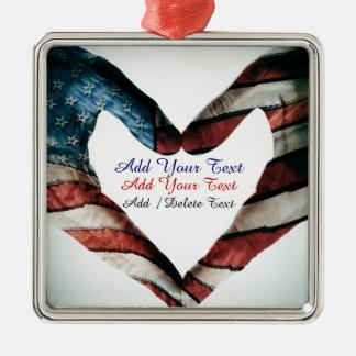 Manos y corazón de los E.E.U.U. Ornaments Para Arbol De Navidad