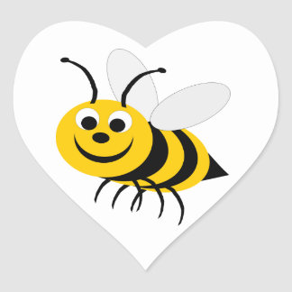 Manosee al pegatina del corazón de la abeja