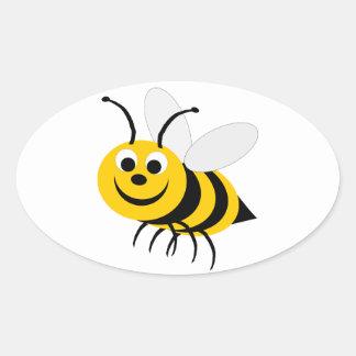 Manosee al pegatina del óvalo de la abeja
