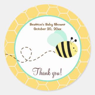 Manosee al pegatina redondo del favor de la abeja