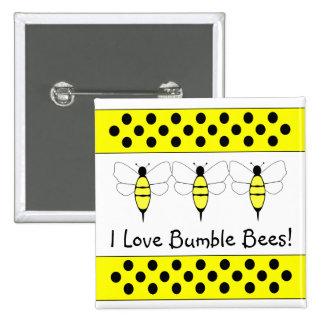 Manosee el botón del personalizable de la abeja pin cuadrado