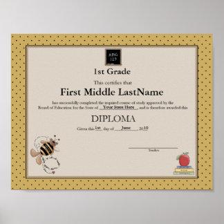 Manosee el diploma de Homeschooler del oso Póster