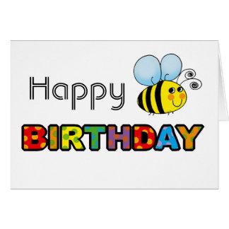 Manosee el feliz cumpleaños de la abeja tarjeta de felicitación