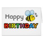 Manosee el feliz cumpleaños de la abeja tarjetas
