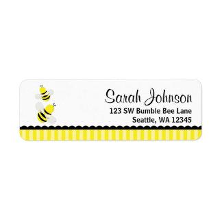 Manosee el remite rayado abeja etiqueta de remite