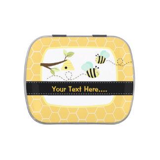 Manosee la abeja añaden su propia lata del favor d frascos de dulces